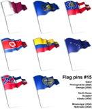 15 flaggastift vektor illustrationer