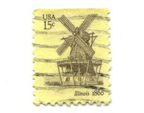 15 gammala portostämplar USA för cents Arkivbild