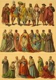 15. Jahrhundert-Italiener-Kostüme Stockfoto