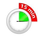 15 minuta zegar Obrazy Stock