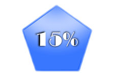 15 per cent. Blue button 15 per cent in white background Stock Image