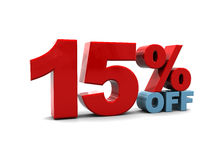 15 percent discount. 3d illustration of 15 percent discount sign, over white background Royalty Free Stock Photos