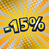 -15 percent discount. Yellow sign showing a -15 percent discount vector illustration