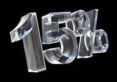 15 percent in glass (3D) Royalty Free Stock Image