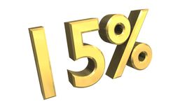 15 percent in gold (3D). 15 percent in gold (3D made Royalty Free Stock Photography