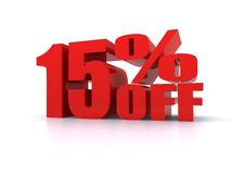 15% Percent off promotional sign. 15% Big Red Percent off promotional sign Stock Photography