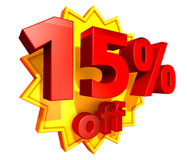 15 percent price off discount. Sign for 15 per cent off in red ciphers at a yellow star on a white background Stock Photography
