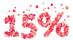 15 Percent Vector Number Made From Pink And Red Confetti Hearts Stock Photos