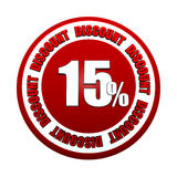 15 percentages discount 3d red circle label. 15 percentages discount - 3d red white circle label with text, business concept Royalty Free Stock Images
