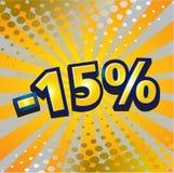 -15 Prozentrabatt Stockfotos