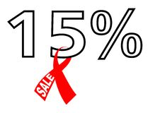 15% sale with ribbon Stock Photography
