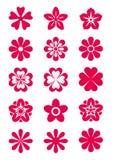 15 siluetas de las flores Foto de archivo