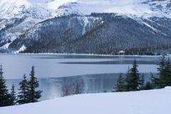 150冷冻结的湖场面冬天 免版税库存照片