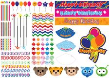 150 Piece Birthday Collection. Create your own custom birthday items with this editable 150 piece collection Royalty Free Stock Photography