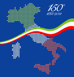 150th anniversary of Italian unity. Illustration for the 150th anniversary of Italian unity, with a graphical map of Italy represented as LED spheres with stock illustration