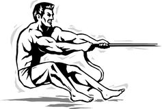 Strongman pulling rope. Stylized strongman pulling a rope Stock Photo