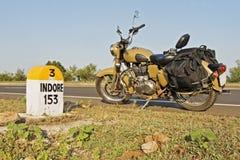 153 kms Indore milestone desert storm motorbike Stock Photography