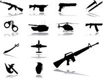 154个图标设置了武器 免版税库存图片