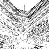 155个抽象大厦混乱城市都市向量 库存图片
