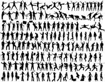 158 силуэтов собрания Стоковое Изображение RF