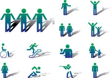 15A. Pictographs of people. Set icons - 15A. Pictographs of people. Set of 13 vector icons for web Royalty Free Stock Photography
