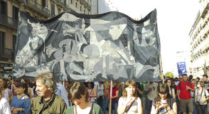 15M protests in Barcelona - Guernica sign Stock Image