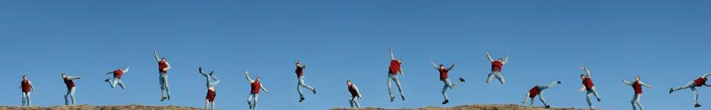 15mal kopiertes Mannspringen Stockfotos