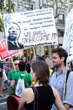 15O - die voor een globale verandering wordt verenigd - Barcelona Stock Fotografie