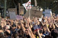 15O - die voor een globale verandering wordt verenigd - Barcelona Stock Foto