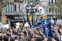 15O - die voor een globale verandering wordt verenigd - Barcelona Royalty-vrije Stock Foto's