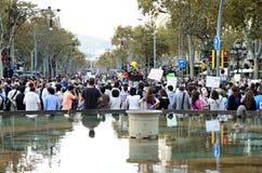 15O - Unido para uma mudança global - Barcelona Fotografia de Stock