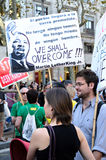 15O - Unido para un cambio global - Barcelona Fotografía de archivo