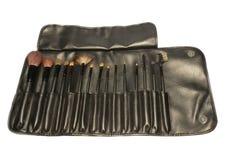 15pcs makeup brushes. Kit with pouch set Stock Photos