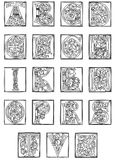 15th Century Alphabet from the Golden Bible Stock Photos
