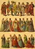 15th Century Italian Costumes. On engraving from 1890 by Fr.Hottenroth Stock Photo