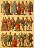 15th Century Italian Costumes. On engraving from 1890 by Fr.Hottenroth Royalty Free Stock Photography