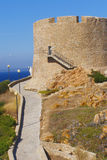 15th century tower. Longosardo Tower (Torre di Longosardo or Torre aragonese in Santa Teresa della Gallura in Sardinia, Italy), 15th century defence architecture stock image