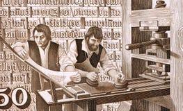 16世纪打印机在工作 库存图片
