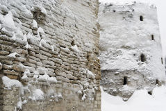 16个世纪堡垒izborsk中世纪Th 免版税库存图片
