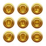 16个按钮金图标设置了万维网 免版税库存图片
