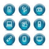 16个球玻璃图标设置了万维网 免版税库存图片