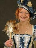16件世纪衣裳风扇女孩镜子波兰微笑 免版税图库摄影