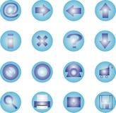 16蓝色图标集 免版税库存照片