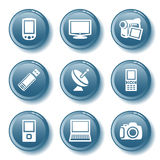 16蓝色按钮集 免版税库存图片