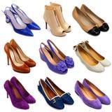 16 θηλυκά πολύχρωμα παπούτσια Στοκ Εικόνα