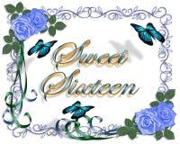 16 роз граници дня рождения голубых сладостных Стоковое Изображение