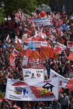 16 2009 berlin demonstration kan Arkivbild