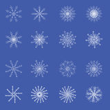 16 abstract white crystal snowflakes. For your design Royalty Free Illustration