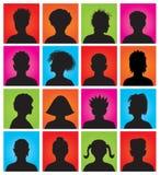 16 anonyme bunte Mugshots Stockbild