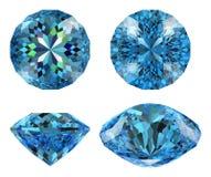 16 błękit rżnięty diament odizolowywająca gwiazda Obrazy Royalty Free